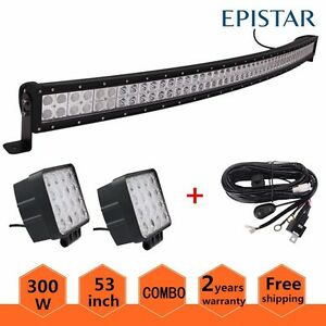 Curved 52inch 300w Led Light Bar Combo Truck Offroad Car Boat Jeep wires 2x 48w