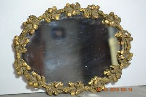 Antique Victorian Floral Ornate Oval Dresser Vanity Perfume Tray Mirror