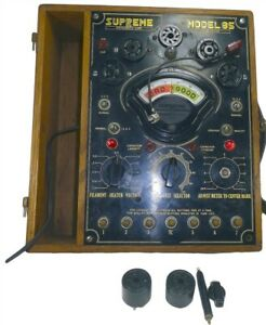 Supreme Model 85 Vintage Tube Tester With Chart And Accessory Sockets
