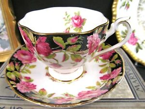 Queen Anne Tea Cup And Saucer Black Magic Pink Rose Teacup Pattern Black Bands