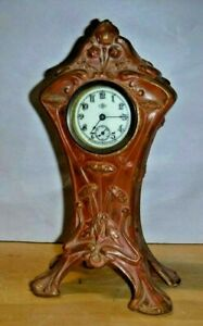 Antique Art Noveau Waterbury Novelty Benedict Gilt Desk Boudoir Mantel Clock