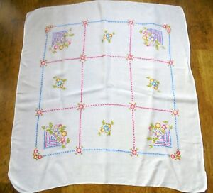 Vintage Hand Embroidered Tablecloth With Pink Blue Checkerboard