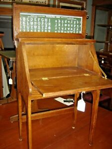 Antique Oak Child S Drop Front Desk With Study Roll Telegraphic Code Abc S 7912