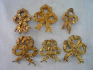 A Lot Of 6 Antique French Gilt Ribbon Bow Picture Hook Covers Cache Clou
