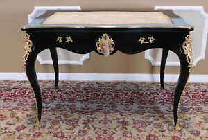 Partially Restored Antique French Louis Xv Regency Lacquered Bureau Plat Desk