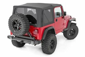 Rough Country Soft Top Black Fits 1987 1995 Jeep Wrangler Yj Half Steel Doors