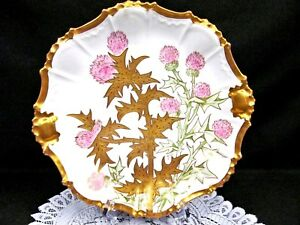 Limoges France Hand Painted Floral Thistle Artist Signed Charger Platter Gold