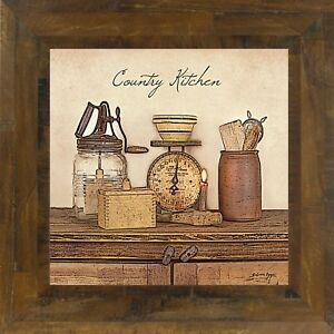 Country New Country Kitchen Wall Print In Wood Frame