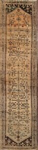 One Of A Kind Antique Washed Subtle Color Hamedan Persian Hand Knotted 3x14 Rug