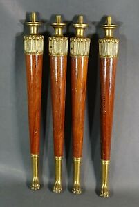 1860 French Empire Oak Wood Table Legs Feet Gild Bronze Lion Paw Furniture 18