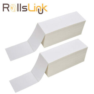 Rollslink 4x6 Fanfold Direct Thermal Labels White Shipping Mailing Postage Label