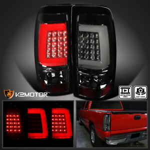 For 2003 2006 Chevy Silverado Gmc Sierra Led Tube Smoke Tail Lights Brake Lamps