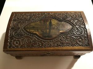 Antique Wooden Jewelry Or Trinket Box With Mirror Non Working Music Box