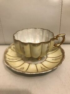 Fan Crest Fine China Japan 1976 Yellow Gold 3 Footed Cup Saucer Opalescent