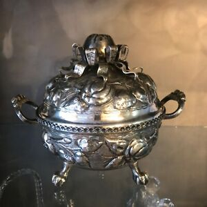 Antique Silver Bolivian Tureen With Pomegranite Design 7 1 2 High