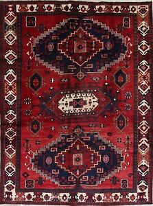 Top Deal Geometric Tribal Persian Vintage Ardebil Hand Knotted 7x9 Wool Red Rug