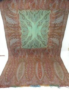 Antique Paisley Wool Shawl Mid 19th C Green Center 125 X 46 As Is