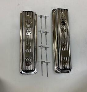 1987 00 Sbc Chevy Chrome Center Bolt Valve Covers Factory Style 5 0 305 5 7 350