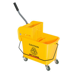 5 Gallon Janitor Mop Bucket W Down Press Wringer H5h4