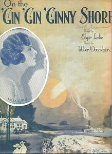 On The Gin Gin Ginny Shore Genuine Vintage Sheet Music 1932