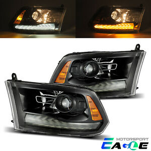 2009 2018 Dodge Ram 1500 2500 3500 Polished Black Led Drl Projector Headlights