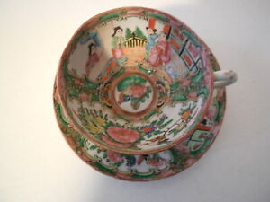 Antique Chinese Famille Rose Medallion Mandarin Cup Saucer