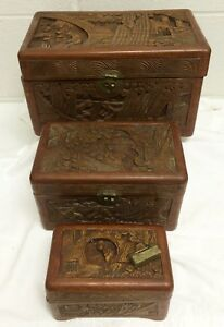 Vtg George Zee Chinese Carved Camphor Wood Graduated Jewelry Chest Box Set Lock