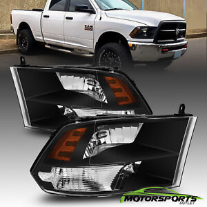For 2009 2018 Dodge Ram 1500 2500 3500 Polished Black Quad Headlights Leftright