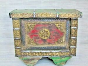 Indian Rustic Reclaimed Trunk Chest With Embossed Brass Real Nice