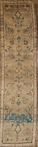 Vintage Floral Muted Color Runner 3x13 Hamedan Persian Runner Rug 13 1 X 3 5