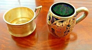 Vintage Sterling Silver Cups 2 Pcs Silver Overlay Childs Cup