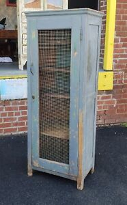 Antique Rustic Pine Country Blue Painted Chicken Wire Cabinet Cupboard C1890