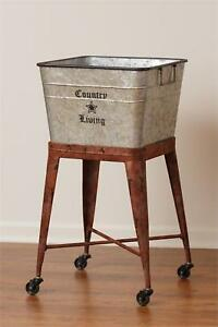Country Living New Large Metal Tub On Wheels Nice Storage Laundry Room