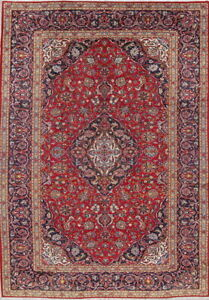 Clearance Traditional Floral Persian Vintage Hand Knotted 9x12 Red Wool Area Rug