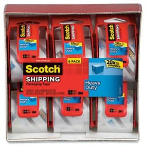 Scotch Sure Start Packaging Tape 2x22 2 Yards 2 Core Clear 6 pack
