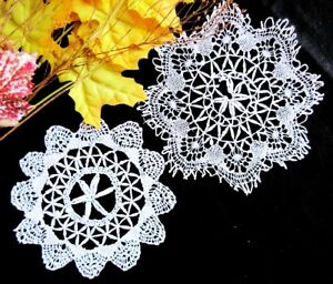 2 Antique Handmade Lace Doilies Coasters Delicate Torchon Cluny Lace 5