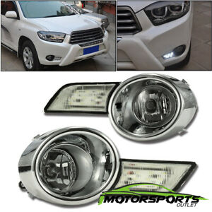 For 2008 2009 2010 Toyota Highlander Euro Drl Led Fog Lights W switch harness