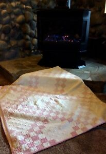 Antique Vintage 16 Patch Hand Made Hand Quilted Thin Quilt