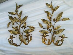 Pair Of Vintage Italian Gold Gilt Tole Leaves Flower Candle Wall Sconces 18
