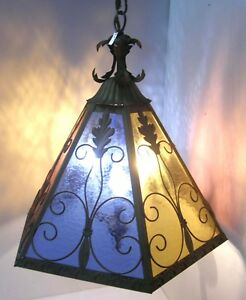 Vintage Hollywood Regency Pendant Light Fixture Italy Stained Glass Gilt Metal