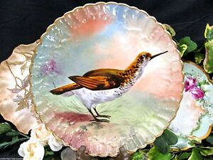 Limoges France Bird Wild Game Plate Charger Handpainted Artist Signed