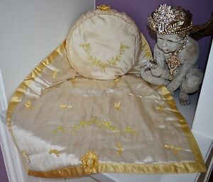 Gorgeous Antique 1908 Blanket Pillow Embroidered Ribbon Work Bassinet Set