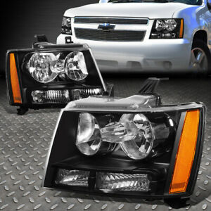 For 07 14 Chevy Tahoe Suburban Black Housing Amber Corner Headlight Head Lamps