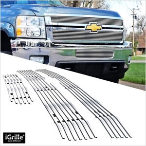 Fits 2011 2014 Chevy Silverado 2500 Hd 3500 Hd Upper Lower Billet Grille Combo
