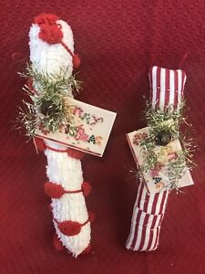 Primitive Handmade Candy Cane Ornie Of Vintage Quilt Chenille Ooak Christmas