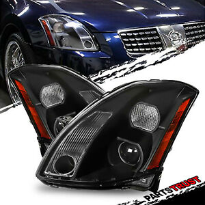 For 2004 2005 2006 Nissan Maxima Projector Black Factory Style Headlights Pair
