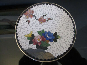 Signed Antique Vintage Early 20th C Japanese Cloisonne Flowers Enamel Plate Dish
