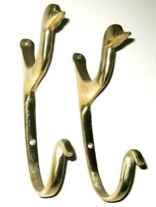 Lot Of 2 A Pair Vintage Solid Brass Duck Head Wall Hooks For Coats
