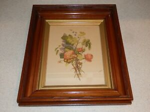 Vintage Shadow Box Picture Frame With Old Floral Print 2