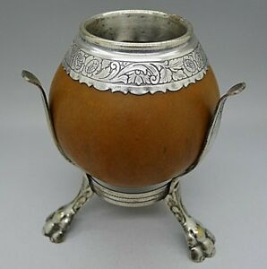 Antique 18th 19th Century Antique Silver Mounted Coconut Cup Paw Feet Rare Old